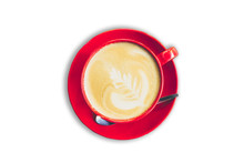 Red Cup And Latte Coffee On Isolated White Background With Clipp