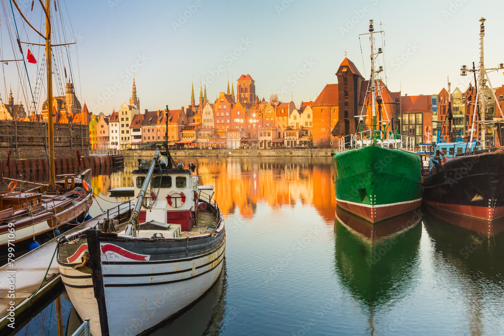 Fototapety, obrazy: Morning scenery of Gdansk old town in Poland
