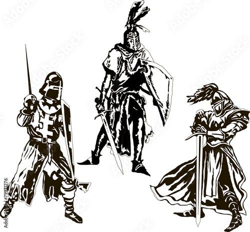 Recess Fitting Art Studio Three Medieval Knights Vector
