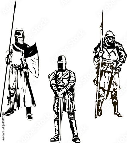Foto op Plexiglas Art Studio Three Medieval Knights Vector
