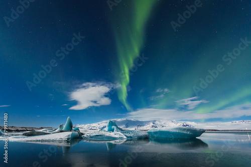 aurora borealis in jokulsarlon, iceland ice lagoon Poster