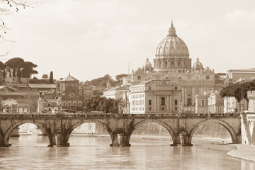 Fototapeta Rzym Vatican view and Ponte Sant'Angelo across Tiber in Rome