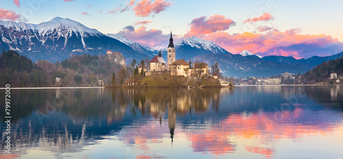 Bled in sunset, Slovenia, Europe. Canvas Print