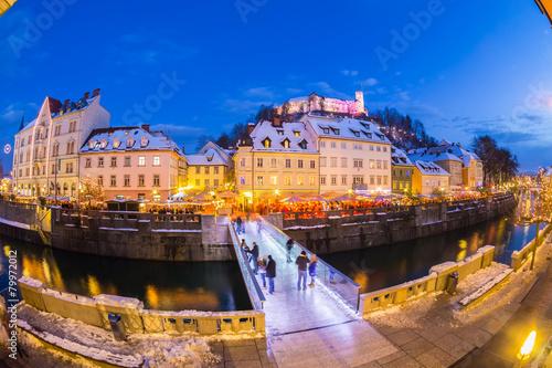 Spoed Foto op Canvas Canada Ljubljana in Christmas time. Slovenia, Europe.