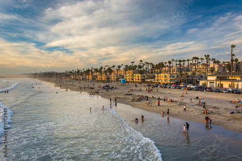 Canvas Print View of the beach from the pier in Oceanside, California.