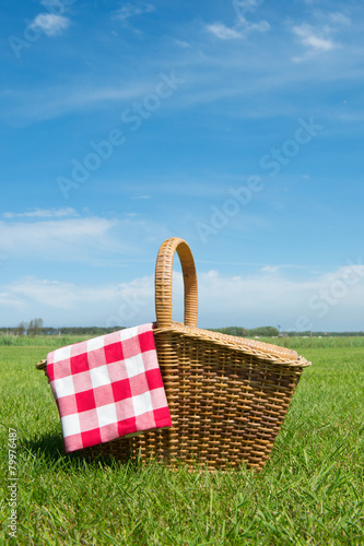 Staande foto Picknick Picnic basket in nature