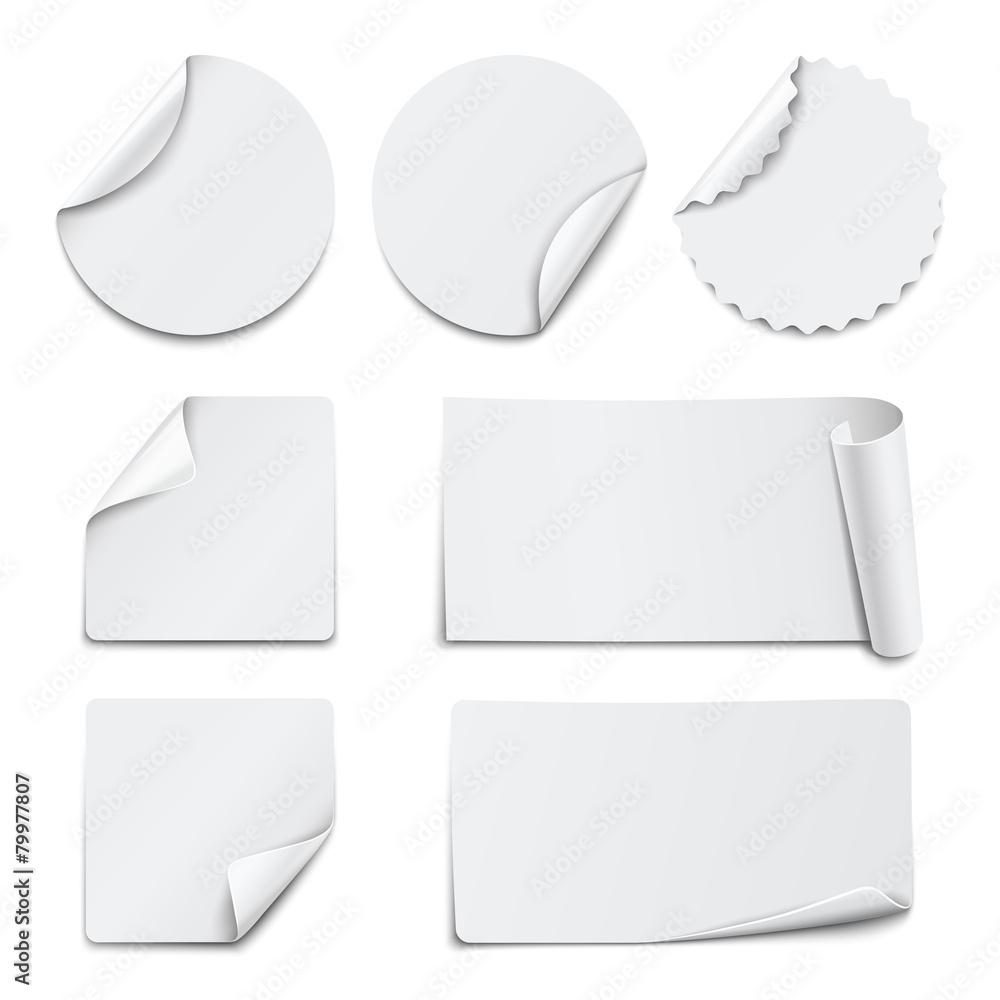 Fototapety, obrazy: Set of white paper stickers on white background