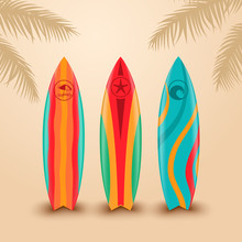 Surf Boards With Different Des...