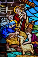 Naklejka Stained Glass - Nativity Scene at Christmas