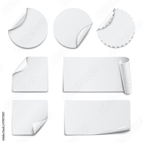 Fotografie, Obraz  Set of white paper stickers on white background
