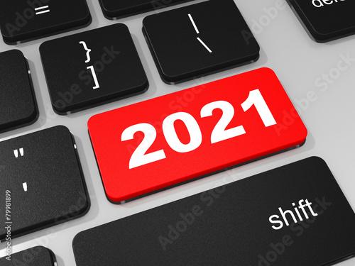 Fotografia  2021 new year key on keyboard.