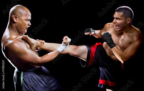 фотография mma fighter performing a counter attack from a kick