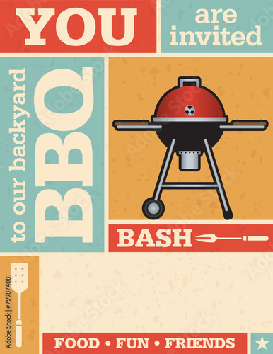 Fotografie, Obraz  Retro Barbecue Invitation with vector grunge texture