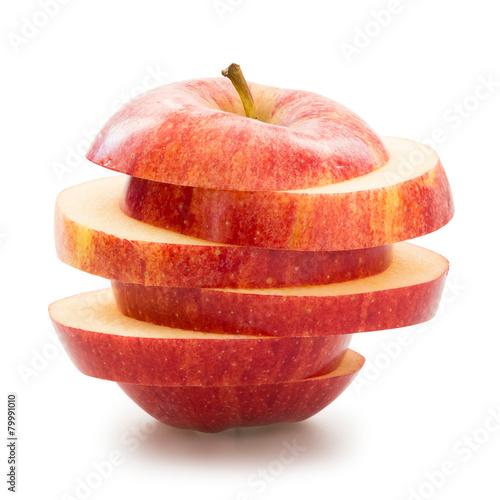 Fotografie, Obraz  Sliced apple over white background