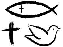 Vektor-Set: 3 Christliche Symbole: Kruzifix, Fisch, Taube