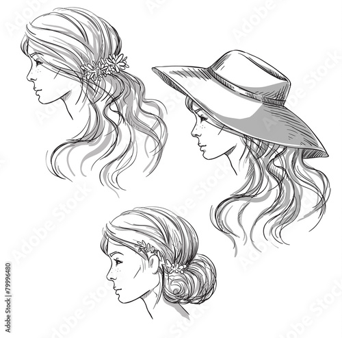 girl with different hairstyles profile view girl in a hat buy