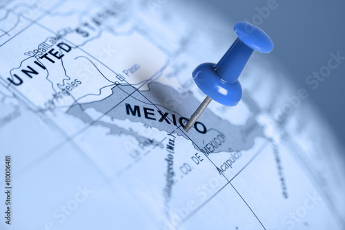Photo sur Toile Mexique Location Mexico. Blue pin on the map.