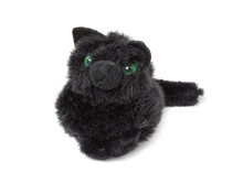 Funny Black Kitten. Toy Isolated On A White Background