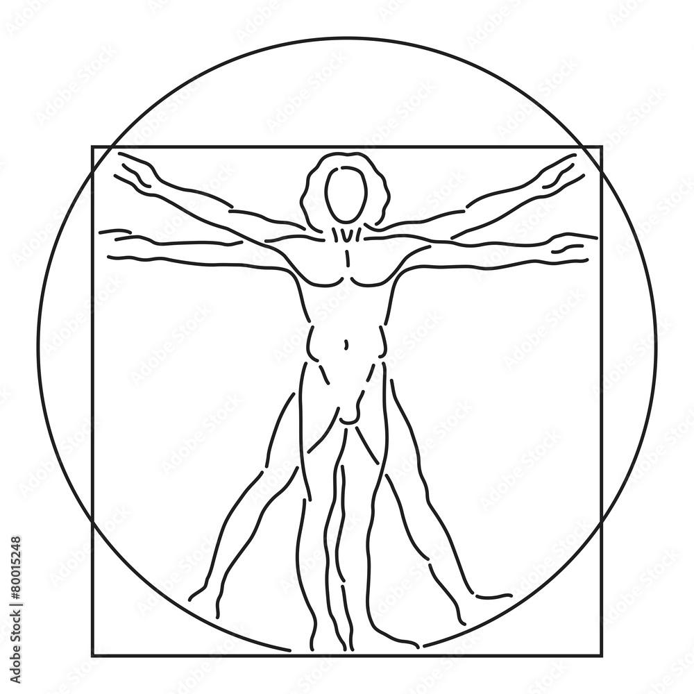 Leonardo Da Vinci Vitruvian Man Human Anatomy Vector Line Art Foto