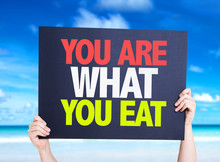 You Are What You Eat Card With Beach Background