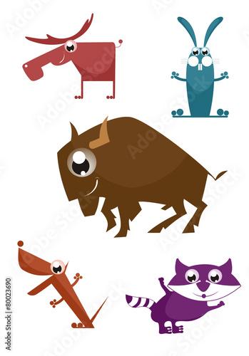 Fényképezés  Comic cartoon funny animals set for design