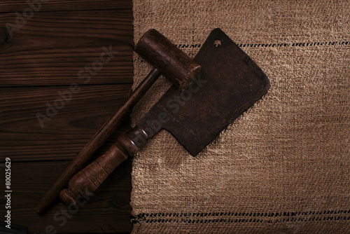 Real Vintage Wooden Mallet And Iron Meat Cleaver Buy This Stock