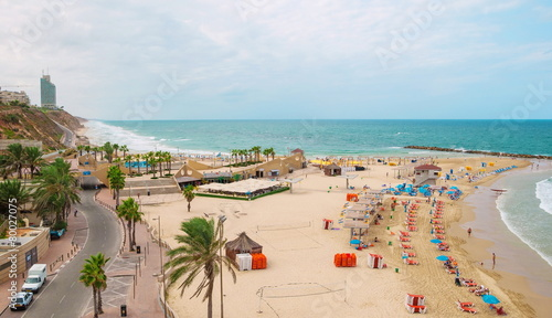 Fotobehang Midden Oosten View of the sea and the beach Sironit in Netanya in Israel