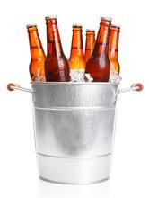 Glass Bottles Of Beer In Metal...