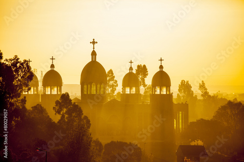 Staande foto Afrika Ethiopian orthodox church at dawn