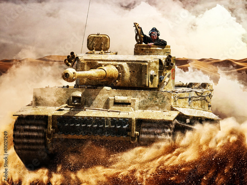 Enemy tanks moving in the desert Fototapeta
