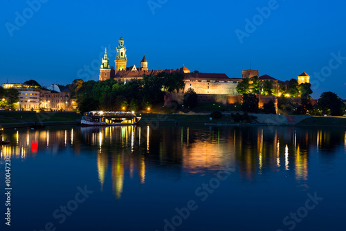 fototapeta na szkło Wawel w nocy