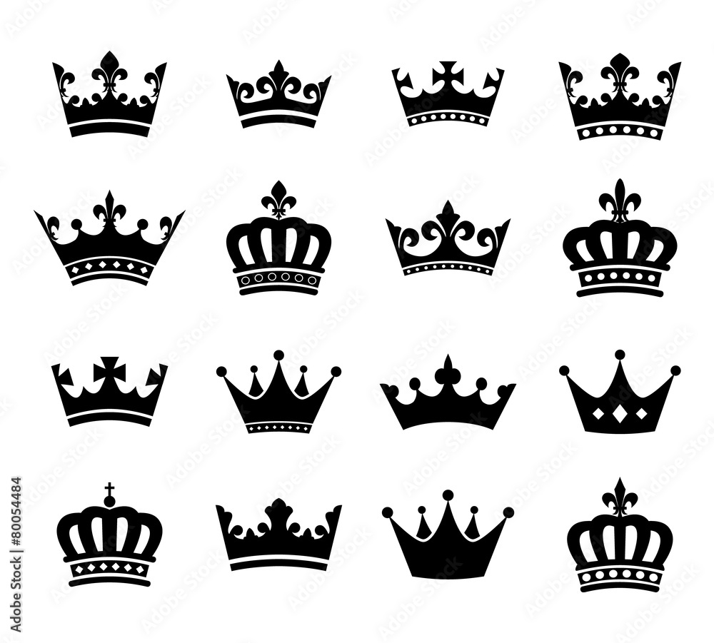 Fototapeta Collection of crown silhouette symbols vol.2