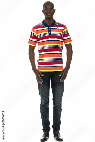 Black man in stripped short sleeve collar shirt on white Poster