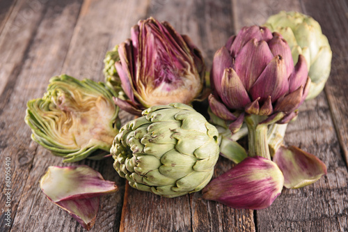 artichoke on wood background Wallpaper Mural