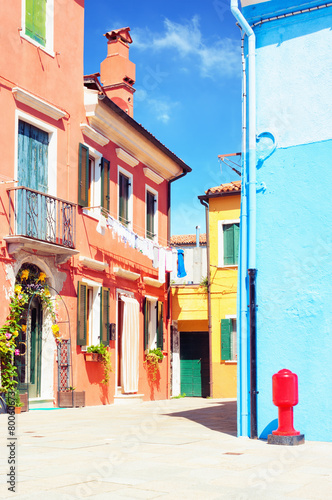 Canvas Prints Narrow alley Colorful houses Burano Italy