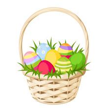 Easter Colorful Eggs In Basket. Vector Illustration.