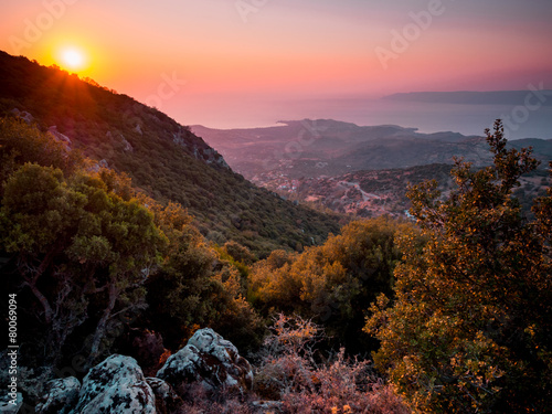 Sunset on Lesbos Canvas Print