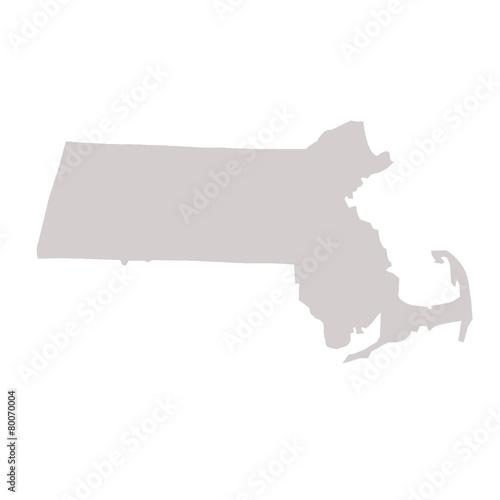 Fotografie, Obraz  Massachusetts State map
