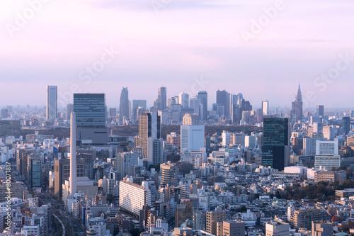 Plakat Pejzaż Tokio Z widokiem na drapacze chmur Shibuya i Shinjuku Zachód słońca