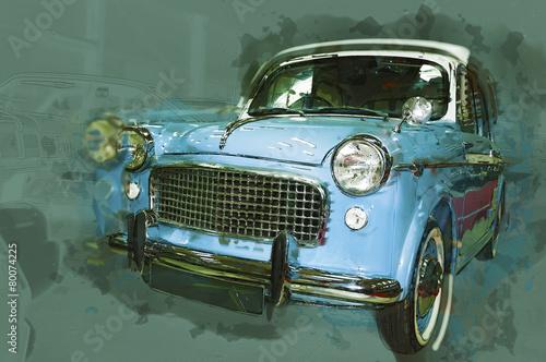 Vintage car drawn illustration