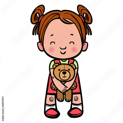 Funny Vector Cartoon Girl With Teddy Bear Vector Illustration Buy