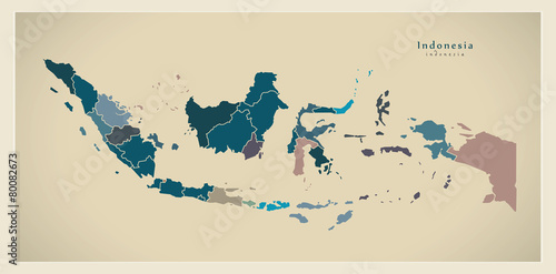 Fotografía  Modern Map - Indonesia with provinces ID
