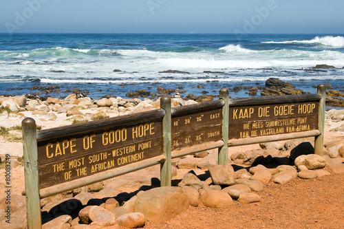 Fotografering  Sign of the Cape of Good Hope. In the background the sea.