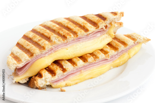 Staande foto Snack Toasted ham and cheese panini sandwich.