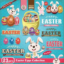 Vintage Easter Poster Design Element Set