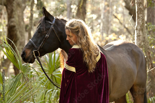 Fotografie, Obraz  medieval woman with horse