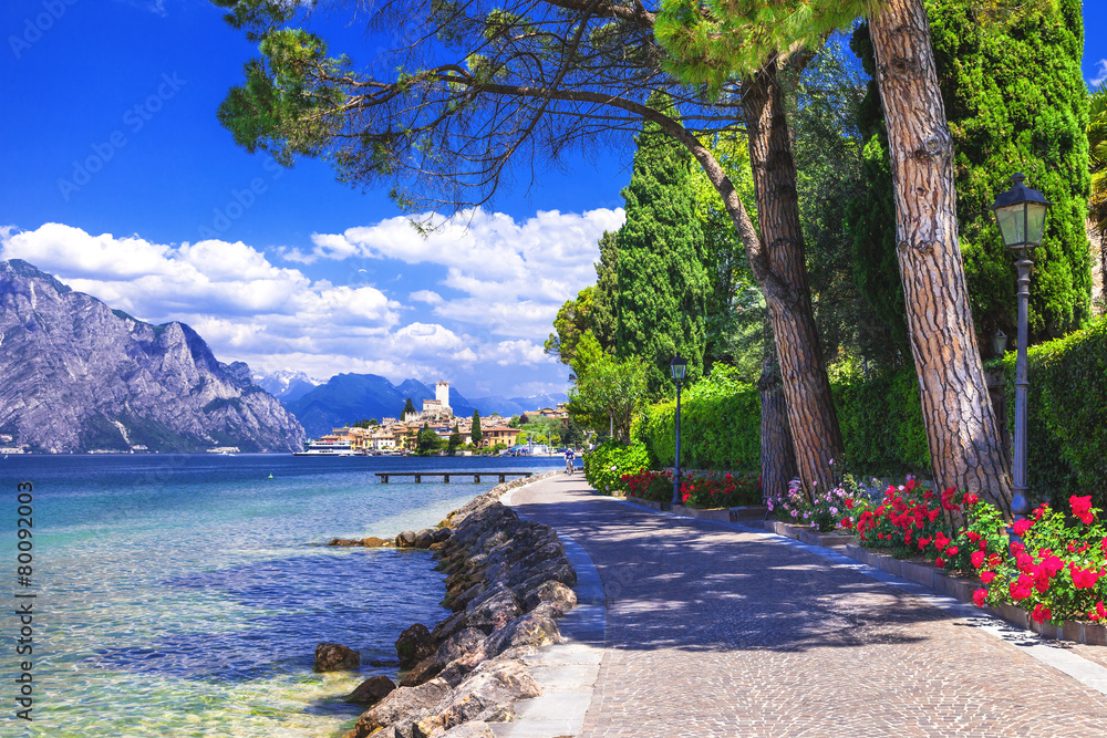 Fototapeta scenery of northen Itlay - Malcesine,  Lago di garda