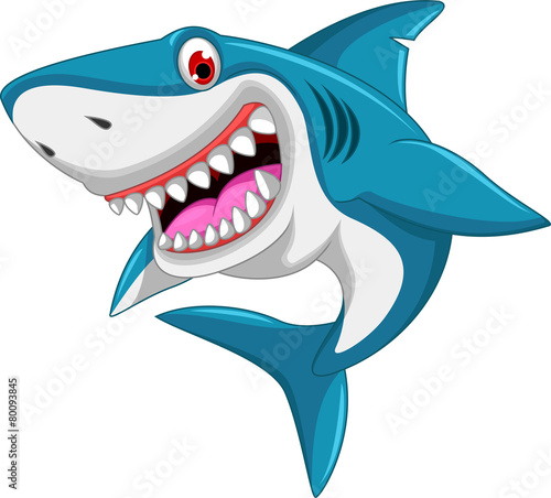 Cuadros en Lienzo angry shark cartoon