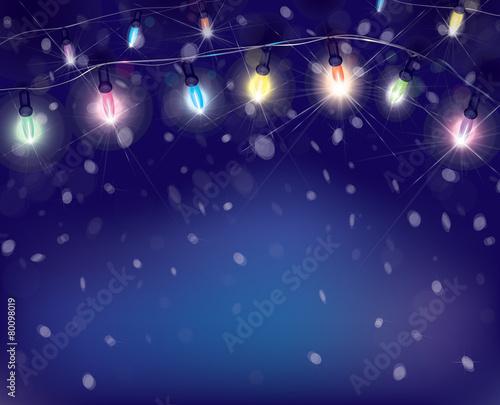 Vector Christmas Lights On Snowfall Background