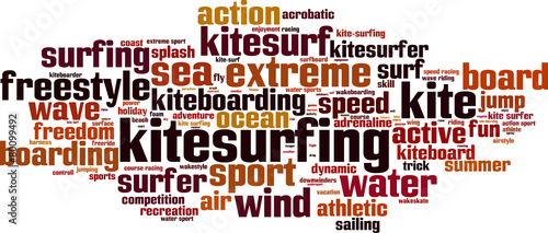 Kitesurfing word cloud concept. Vector illustration #80099492